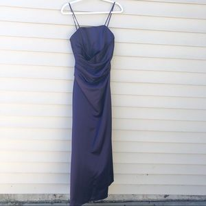 Alfred Angelo eggplant gown with spaghetti straps